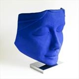 Blue Ponderer by Jilly Sutton, Sculpture, Olive stone resin with Blue Pigment