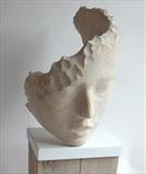 Head Wind by Jilly Sutton, Sculpture, cast olive stone from wood or verdigris bronze